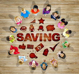 Multiethnic Group of Children with Saving Concepts