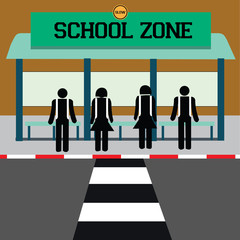 warning school zone. vector illustration