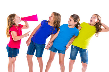 megaphone leader kid girl shouting friends