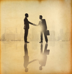 Old fashioned business Handshake in the city