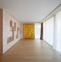 Luxury room with geometric art wall