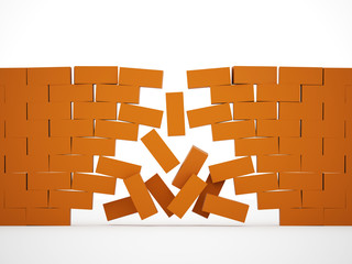 Orange crashed brick