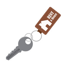 house key in a key chain. vector illustration