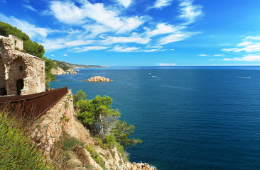 Costa Brava Coast  - view from Tossa de Mar castle, Spain