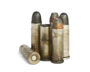 Old bullets isolated on white background