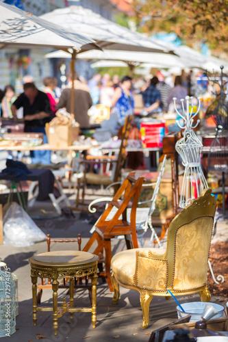 Leinwanddruck Bild Sunday flea market.