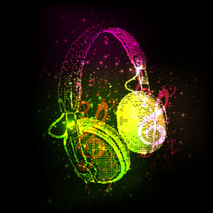 Abstract Headphones with note, easy all editable