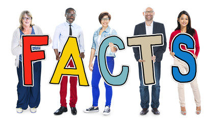 Multiethnic Group of People Holding Letter Facts