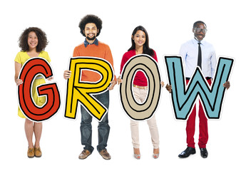 DIverse People Holding Text Grow