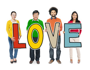 Multiethnic Group of People Holding Word Love