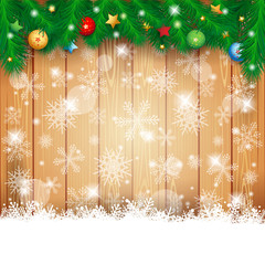 Christmas background with fir and copy space