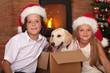 Kids with their new pet at Christmas time