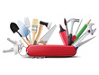 Swiss universal knife with tools. All in one. Creative illustrat - 72975871