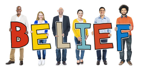 Multiethnic Group of People Holding Word Belief