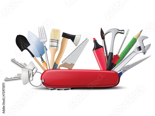 canvas print picture Swiss universal knife with tools. All in one. Creative illustrat