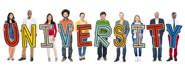Diverse People Holding Text University