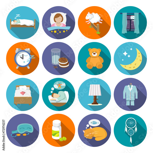 Sleep time icons flat - 72976237