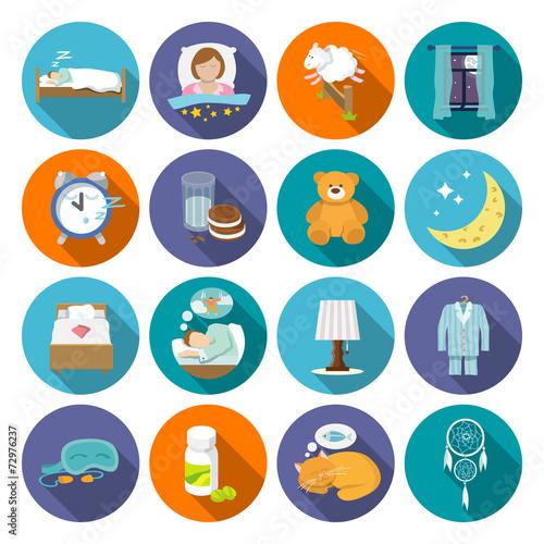 Sleep time icons flat - 72976237