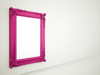 Purple vintage mirror frame rendered