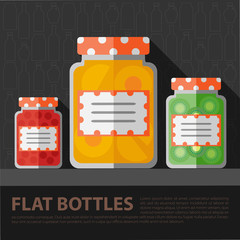 Vector color flat homemade jam bottle template