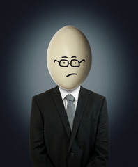 uncertain businessman egg head