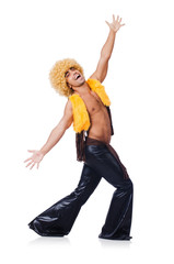 Dancer in afro wig dancing isolated on white
