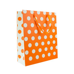 Orange polka dot gift bag