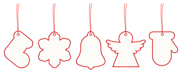 New Set 5 Christmas Hangtags Paper Red