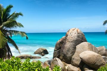 Beach Rocks at Anse Machabee in Mahe Island