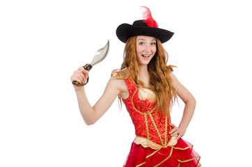 Woman pirate with knife on white