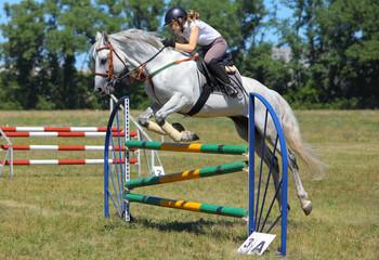 Jump horse - equestrian race