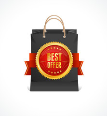 Vector paper bag and gold label Best Offer