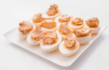 Cut boiled eggs with tuna