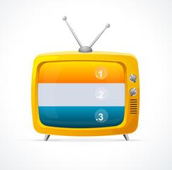Vector orange TV blank and option banner 123