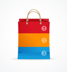 Vector paper bag like option banner.