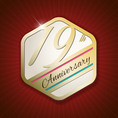 19th Anniversary - golden Seal, Badge on red rays background