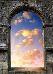 Gate to heaven with the setting sun