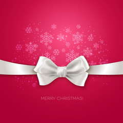 Pink Christmas background ribbon with white silk bow