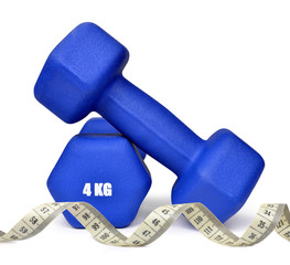 Blue fitness dumbbells with measuring tape
