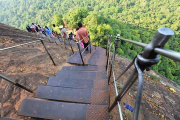 Climbing through Boulder Gardens at Sigiriya Rock, Sri Lanka