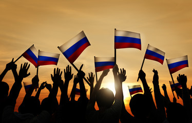 Group of People Waving Russian Flags