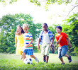 canvas print picture - Group of Children Playing Football Concepts
