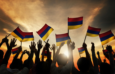 Group of People Waving Armenian Flags