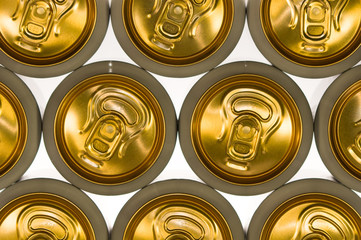 Background of aluminum cans for carbonated drinks.