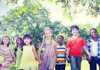Diverse Children Friendship Playing Outdoors