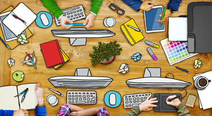 Business People Working in the Photos Illustration