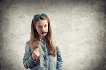 Portrait of girl with mustache paper
