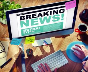 Digital Online Breaking News Headline Concepts