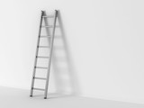 3d illustration of ladder in square hole over white background