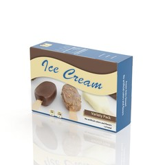3D Ice Cream paper package isolated on white